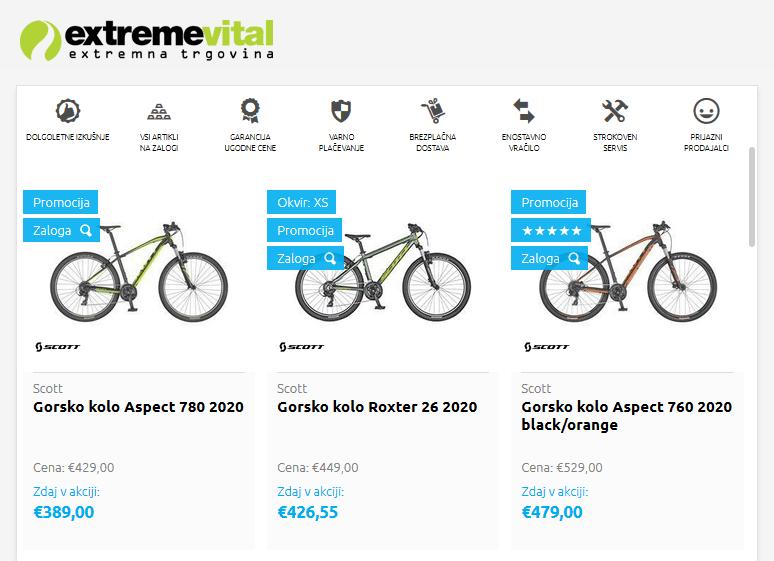 Spletna trgovina s kolesi Extremevital.com